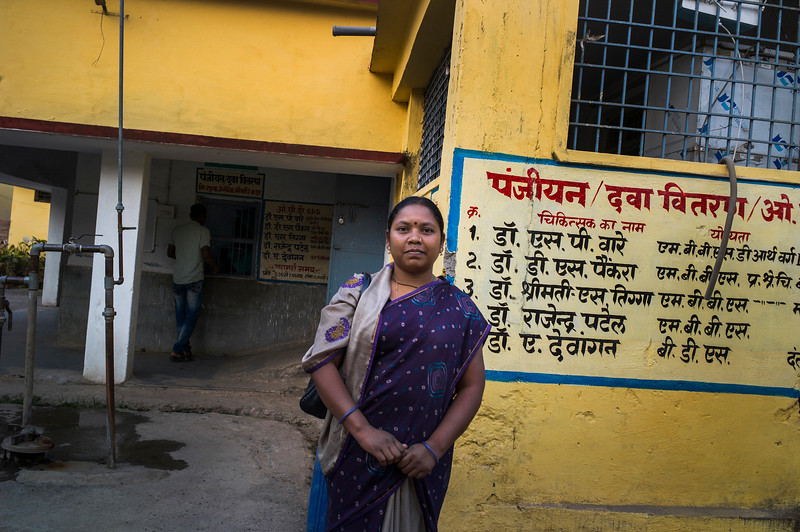 Chattisgarh, India, February 2015:   Nurse Tarika Lakra from Tamnar, who lost her land to Jindal Steel and Power Limted, poses for a photograph in the hospital where she works.    Photographs for a story on land allocation for coal mines in Chattisgarh.  Modi's new government in the centre has relaxed the environmental regulations so the land can be allocated to both public and private sector companies easily.   Photo by Sami Siva for Al Jazeera America.