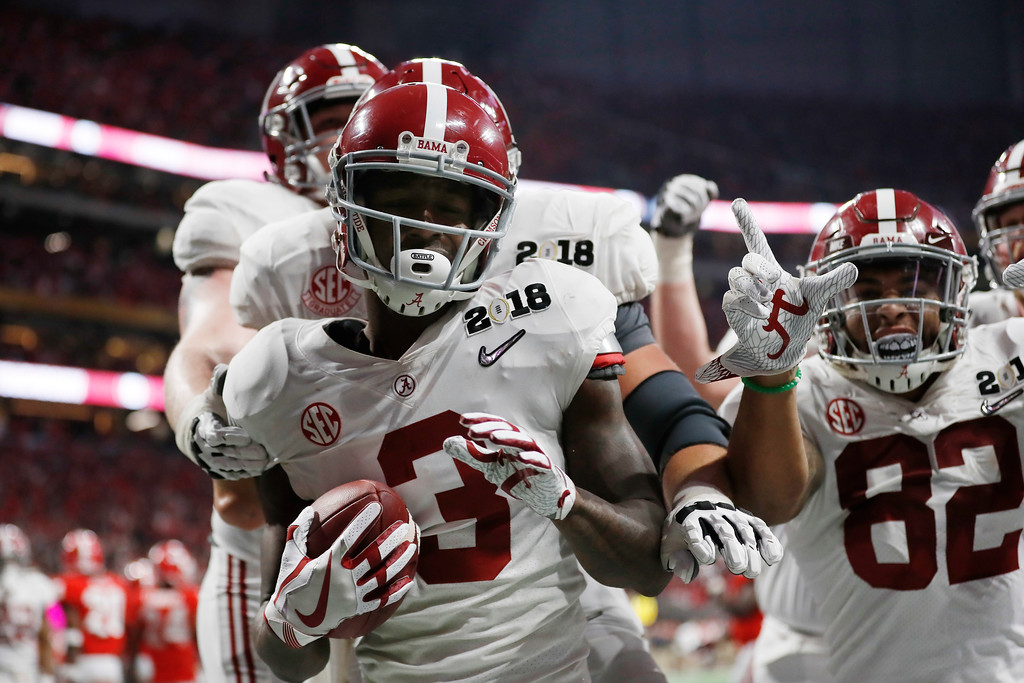 . Alabama\'s Calvin Ridley celebrates his touchdown catch during the second half of the NCAA college football playoff championship game against Georgia Monday, Jan. 8, 2018, in Atlanta. (AP Photo/David Goldman)