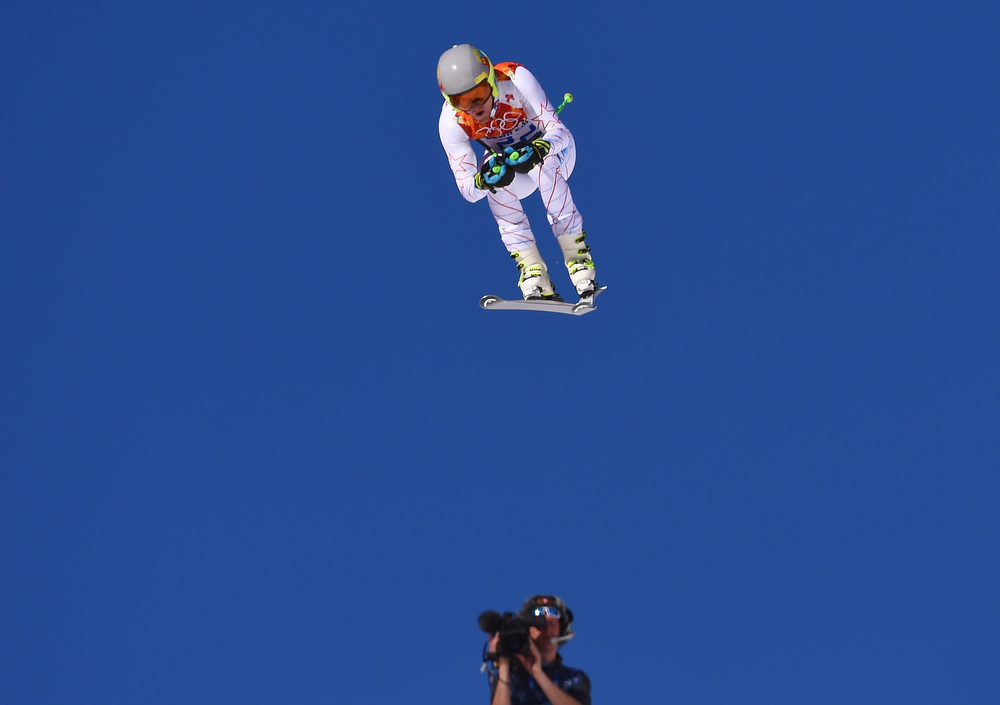 . US skier Ted Ligety competes during the Men\'s Alpine Skiing Super Combined Downhill at the Rosa Khutor Alpine Center during the Sochi Winter Olympics on February 14, 2014. (FABRICE COFFRINI/AFP/Getty Images)