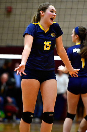 11/14/2018 Mike Orazzi | Staff Woodstock Academy's Samantha Orlowski (15) during the Class L Semifinal State Girls Volleyball Tournament held at Windsor High School Wednesday night.