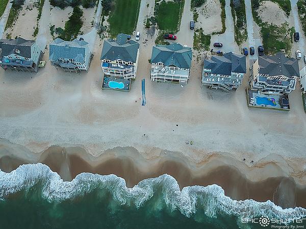 September 5, 2021, Sunset Aerial View of Avon, North Carolina,