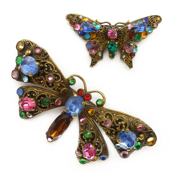 VINTAGE ART DECO CZECH RAINBOW GLASS BUTTERFLY BROOCH PINS