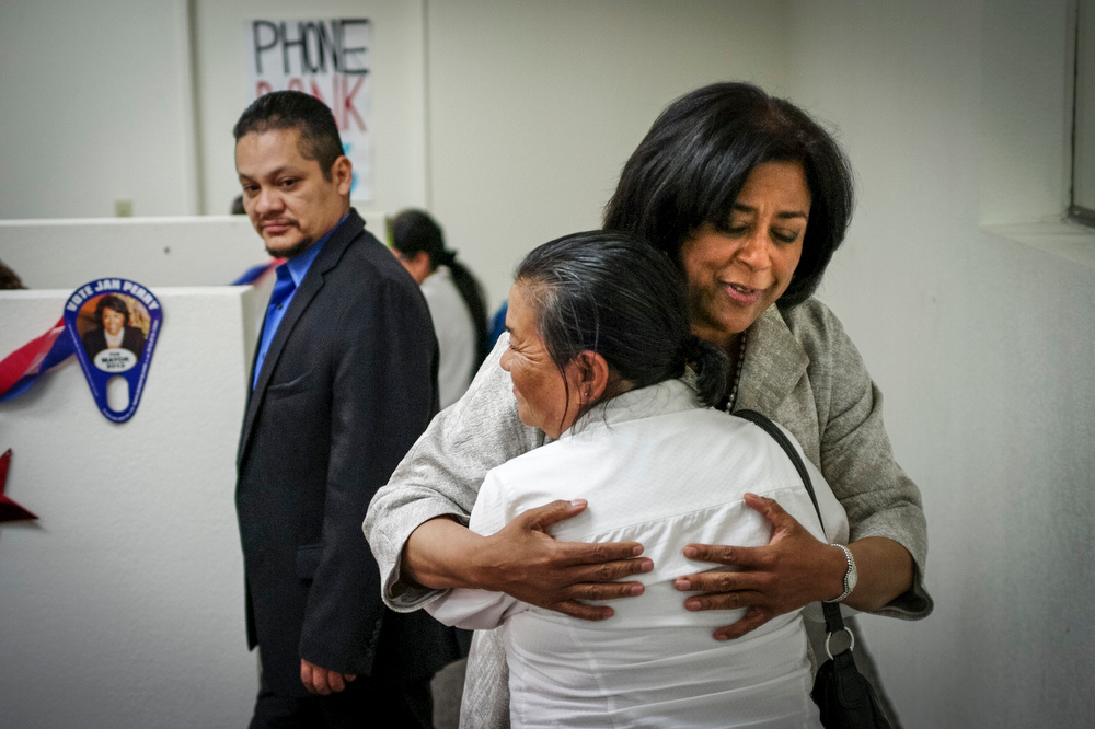 . Jan Perry greets phone operator Maria Huerta at her campaign headquarters Sunday. Perry is running for Los Angeles mayor.  The election is Tuesday.   Photo by David Crane/Staff Photographer