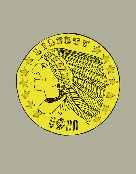 'Gold Indian Head $2.50 Coin' ink drawing + digital coloring Daniel Driensky © 2014