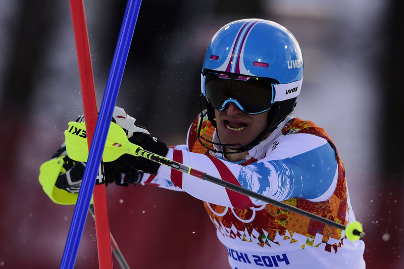 . Austria\'s Matthias Mayer skis during the Men\'s Alpine Skiing Super Combined Slalom at the Rosa Khutor Alpine Center during the Sochi Winter Olympics on February 14, 2014.  (OLIVIER MORIN/AFP/Getty Images)