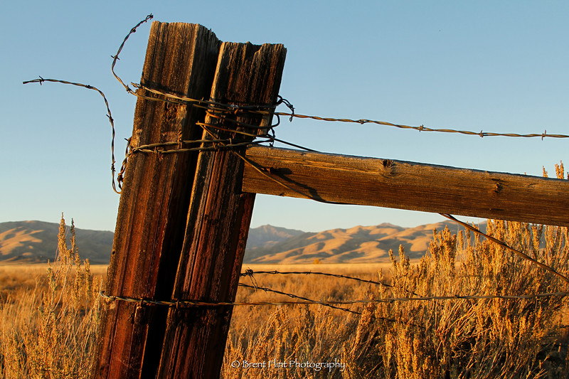 DF.3436 - fencepost on the Camas Prairie with distant hills at sunset, Camas County, ID.
