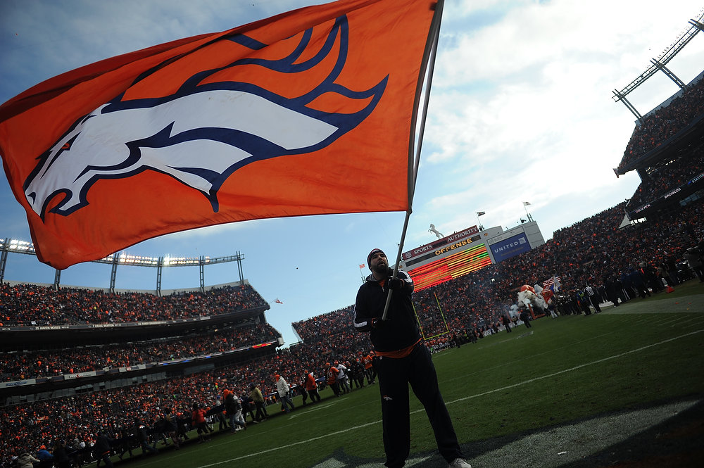 . The Denver Broncos flag is seen on the field prior to the Denver Broncos vs Baltimore Ravens AFC Divisional playoff game at Sports Authority Field Saturday January 12, 2013. (Photo by Hyoung Chang,/The Denver Post)