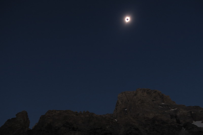 Total solar eclipse over Grand Teton - Viewed from due west of the mountain in South Cascade Canyon