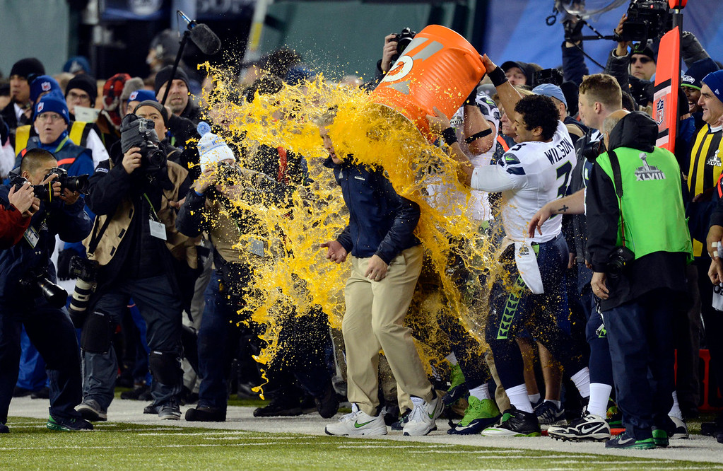 . Seattle Seahawks head coach Pete Carroll has Gatorade dumped on him while the Seahawks defeat the Broncos 43 to 8.  The Denver Broncos vs the Seattle Seahawks in Super Bowl XLVIII at MetLife Stadium in East Rutherford, New Jersey Sunday, February 2, 2014. (Photo by AAron Ontiveroz/The Denver Post)