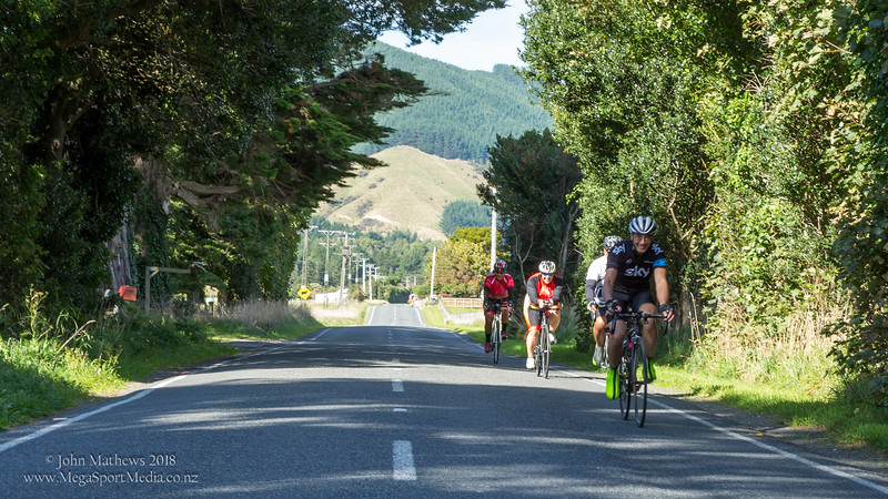"""Images of the Wellington Masters Cycling Club competing in the """"Mangaroa Graded Road Race"""" held on 8 April 2018 in Whitemans Valley, Upper Hutt, New Zealand.   Copy right: John Mathews 2018  +64 274454321"""