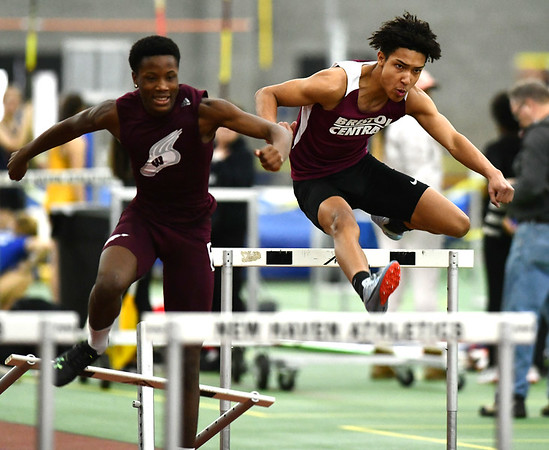 2/1/2020 Mike Orazzi | StaffrBristol Central's Jarrett Boxley in the Boys 55 Meter Hurdles during the CCC Indoor Track & Field Championships at the Floyd Little Athletic Center in New Haven on Saturday.