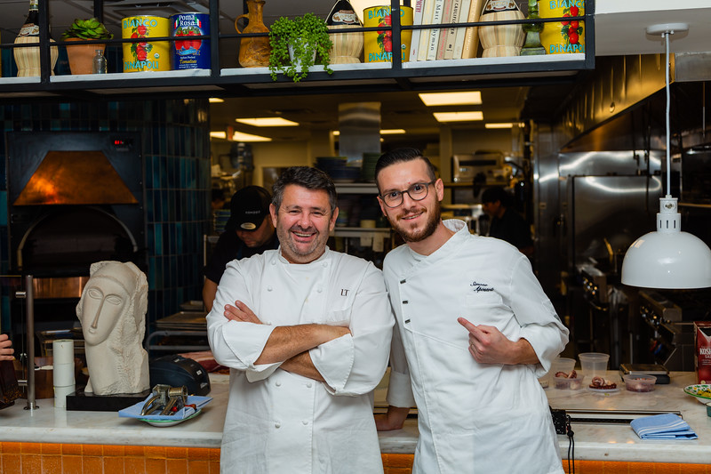 Chef Laurent Tourondel (left) and chef Simone Apostoli of Scusi Trattoria, located at 4520 PGA Blvd., Palm Beach Gardens, FL, on Thursday, November 21, 2019. Tourondel, the internationally famous chef behind the global BLT restaurant brands, has opened Scusi Trattoria in the former Vic and Angelo's location in Palm Beach Gardens. [JOSEPH FORZANO/palmbeachpost.com]