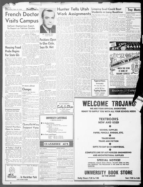 Daily Trojan, Vol. 40, No. 3, September 15, 1948
