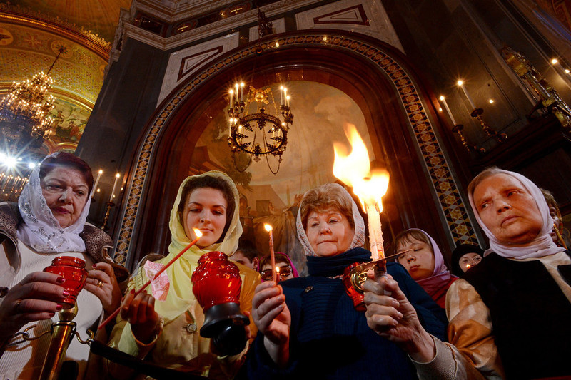 . Russian Orthodox believers celebrate Easter at the Christ the Savior Cathedral in Moscow early on May 5, 2013. KIRILL KUDRYAVTSEV/AFP/Getty Images