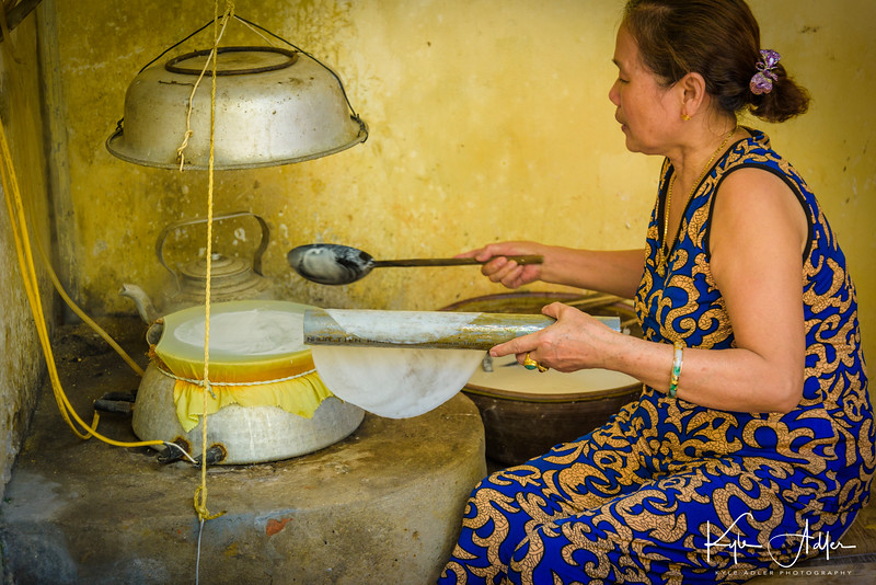 We visited the home of a family who make rice paper, the main occupation in the village.  Spring rolls are extremely popular throughout Vietnam, so there is high demand for rice paper.