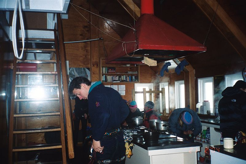 Kelman Hut. Richard (left), Bill, Erwin, Lisa. 21 Feb 04
