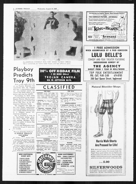 Summer Trojan, Vol. 18, No. 13, August 16, 1967