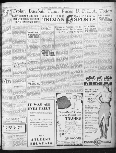 Daily Trojan, Vol. 23, No. 129, April 20, 1932