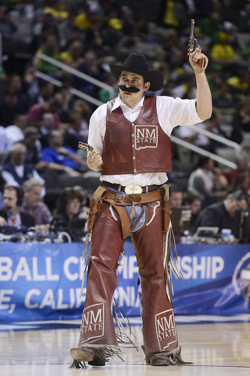 . The New Mexico State Aggies mascot performs in the second half against the Saint Louis Billikens during the second round of the 2013 NCAA Men\'s Basketball Tournament at HP Pavilion on March 21, 2013 in San Jose, California.  (Photo by Thearon W. Henderson/Getty Images)