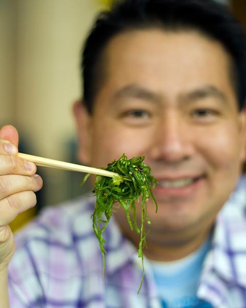 Cly enjoying a wakame salad