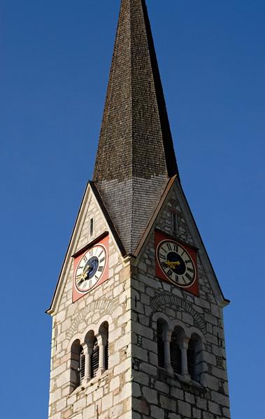 Clock Tower of Hallstatt Protestant Church, Austria