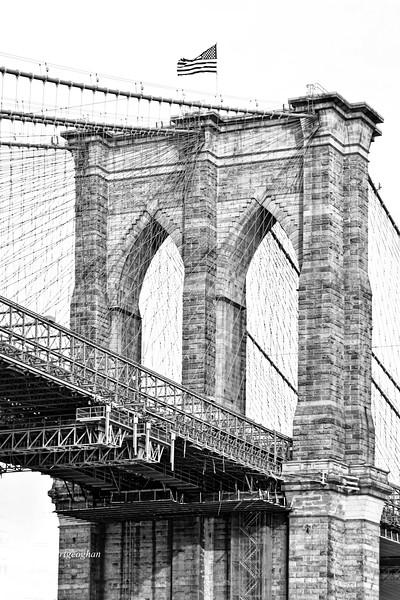 Brooklyn Bridge Tower in Black and White