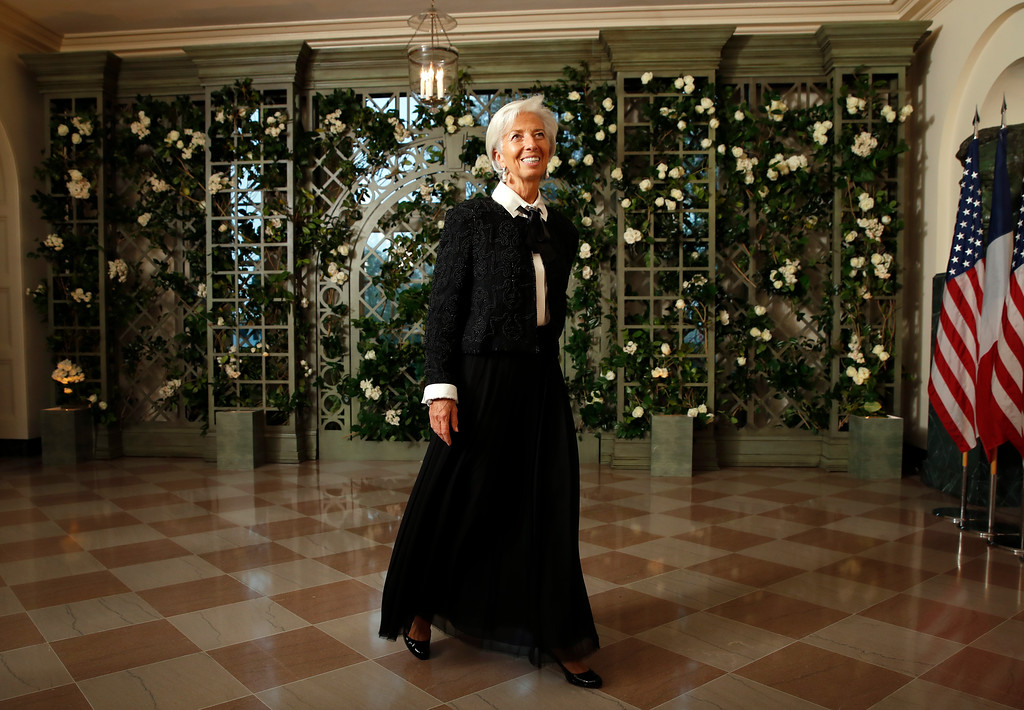 . Christine Lagarde, Managing Director of the International Monetary Fund, arrives for a State Dinner with French President Emmanuel Macron and President Donald Trump at the White House, Tuesday, April 24, 2018, in Washington. (AP Photo/Alex Brandon)