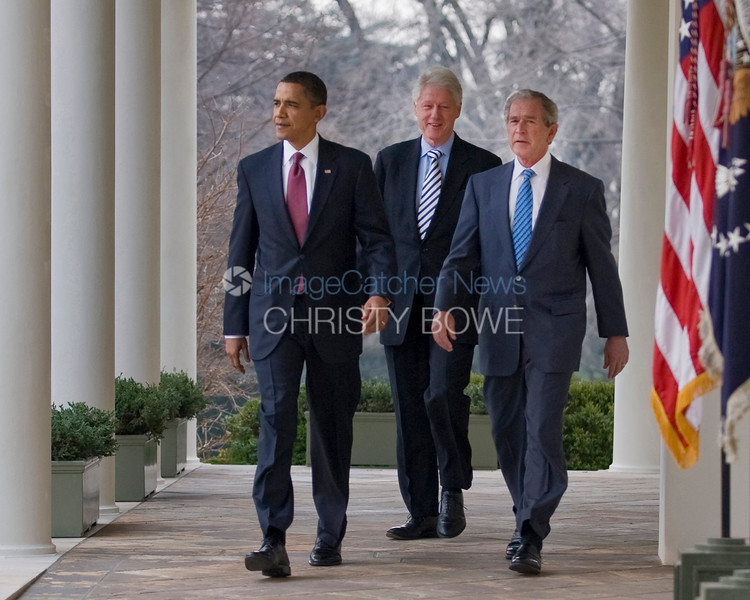 Emerging from the Oval Office, Presidents Obama,  Bush and Clinton unite in helping the people of Haiti  recover from the devastating earthquake earlier this week.
