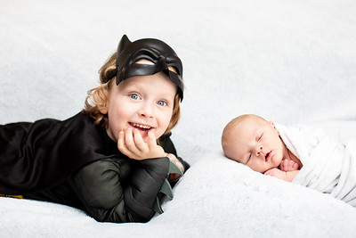 Newborn Baby and Toddler Brother Photography at home in Pacific Beach - Nolan, Fall 2018