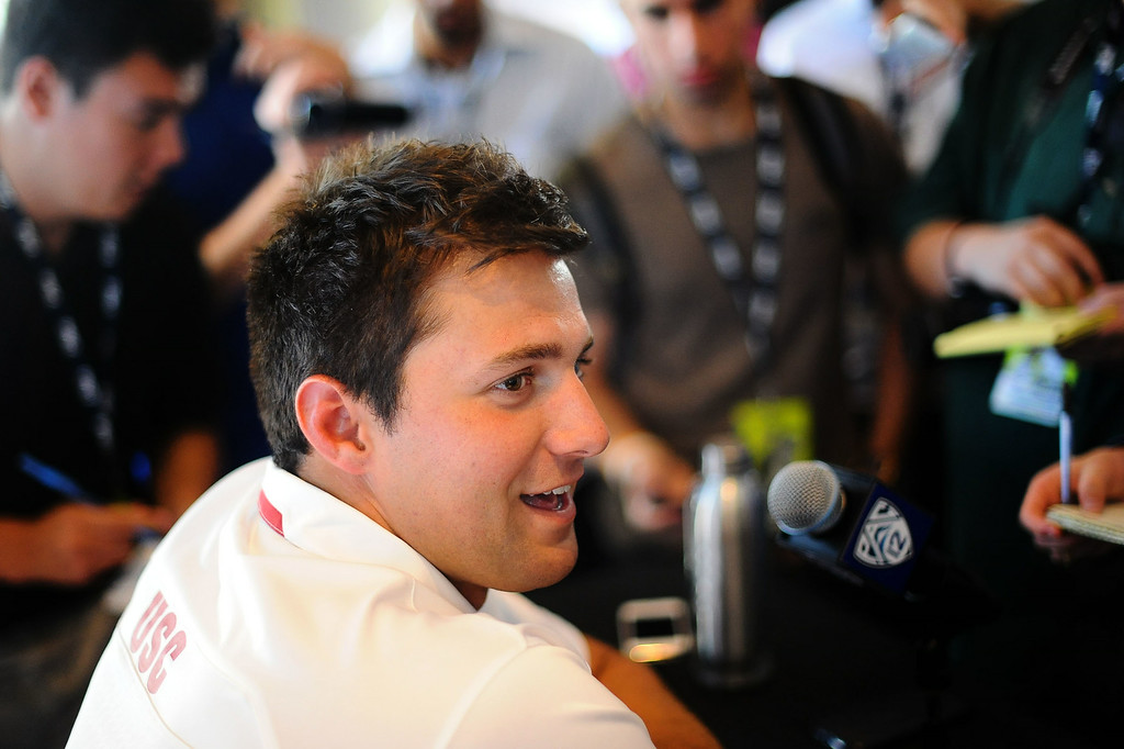 . USC quarterback Cody Kessler attends PAC-12 Football Media Day at the Paramount Theater in Los Angeles, Ca July 23, 2014.(Andy Holzman/Los Angeles Daily News)