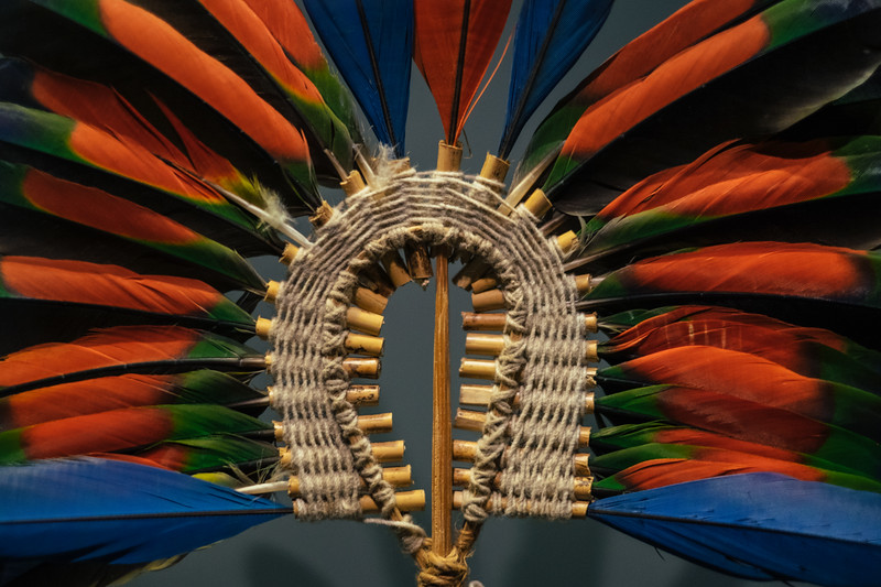 Feather headdress at the Musee d'ethnographie Geneva
