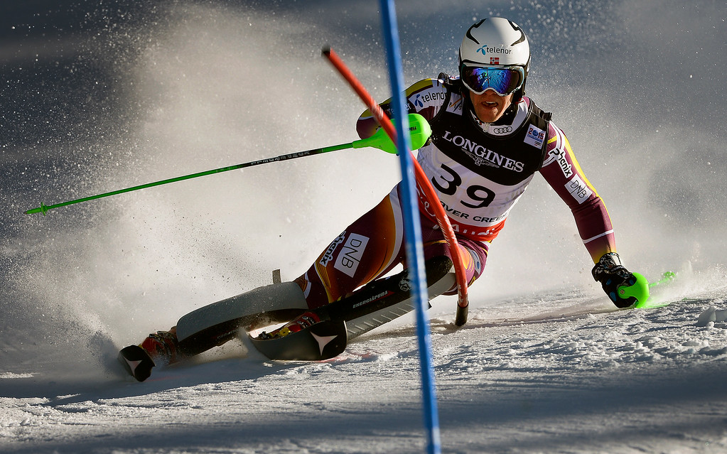 . BEAVER CREEK, CO - FEBRUARY 8: Aleksander Aamodt Kilde of Norway runs the course at the Men\'s slalom portion of the Men\'s alpine combined race at the FIS Alpine World Ski Championships in Beaver Creek, CO. February 8, 2015. (Photo By Helen H. Richardson/The Denver Post)