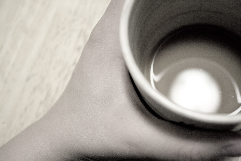 April 10, 2012. Day 95.  Some nights in photos A desaturated cup Of tea just fits well.  Wasilla, Alaska.