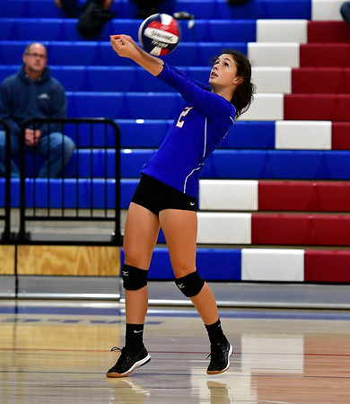 10/11/2019 Mike Orazzi | StaffrSt. Paul's Greta Panke (2) during Thursday night's girls volleyball with Torrington in Bristol. rr
