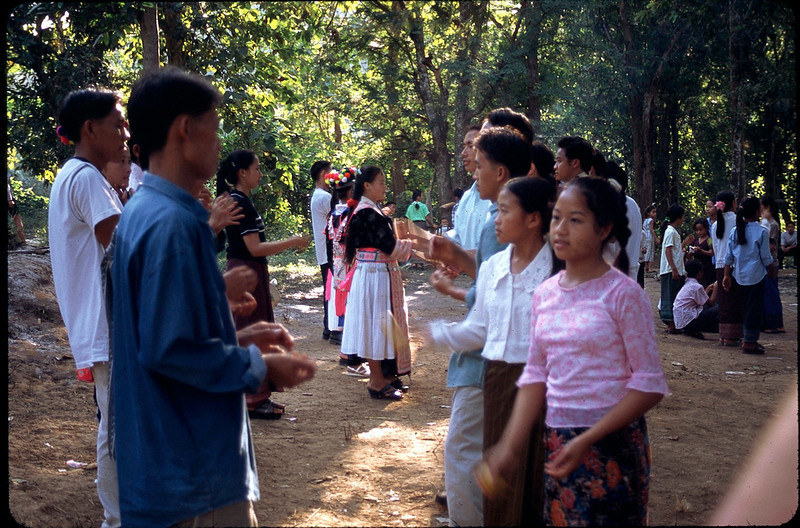 traditional dance in village on Laotian holiday