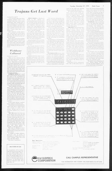 Daily Trojan, Vol. 66, No. 45, November 27, 1973