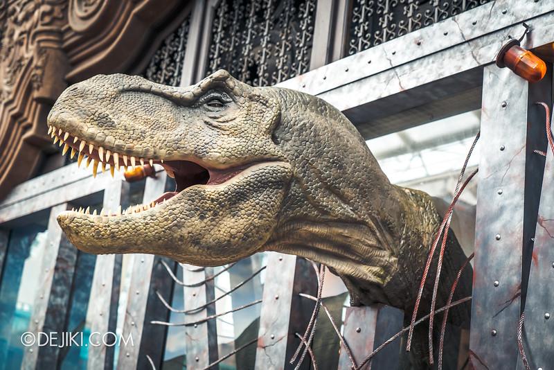 Universal Studios Singapore Park Update - Jurassic World Explore and Roar event - Jurassic World park decor / T-Rex store window closeup