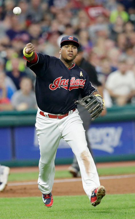 . Cleveland Indians\' Jose Ramirez throws out Tampa Bay Rays\' Jesus Sucre in the sixth inning of a baseball game, Saturday, Sept. 1, 2018, in Cleveland. (AP Photo/Tony Dejak)