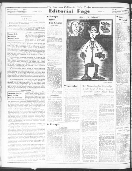 Daily Trojan, Vol. 28, No. 79, February 15, 1937