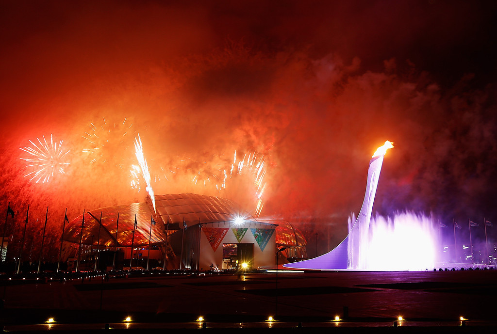 . Fireworks explode over the Olympic Park at the end of the Opening Ceremony of the Sochi 2014 Paralympic Winter Games at Fisht Olympic Stadium on March 7, 2014 in Sochi, Russia.  (Photo by Harry Engels/Getty Images)
