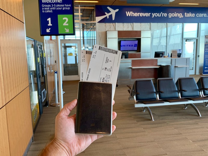 Flight tickets at gate in airport