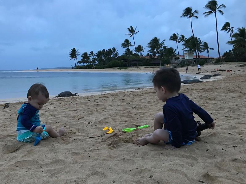 Asher & Finn at Poipu Beach
