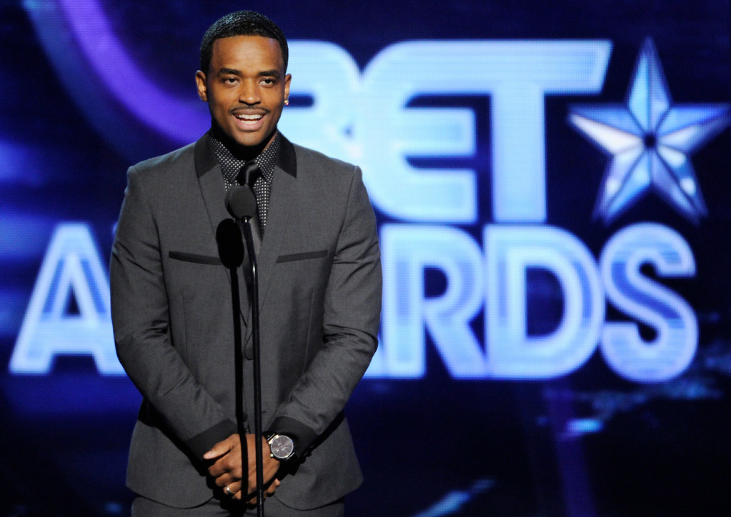 . Larenz Tate speaks on stage at the BET Awards at the Nokia Theatre on Sunday, June 29, 2014, in Los Angeles. (Photo by Chris Pizzello/Invision/AP)