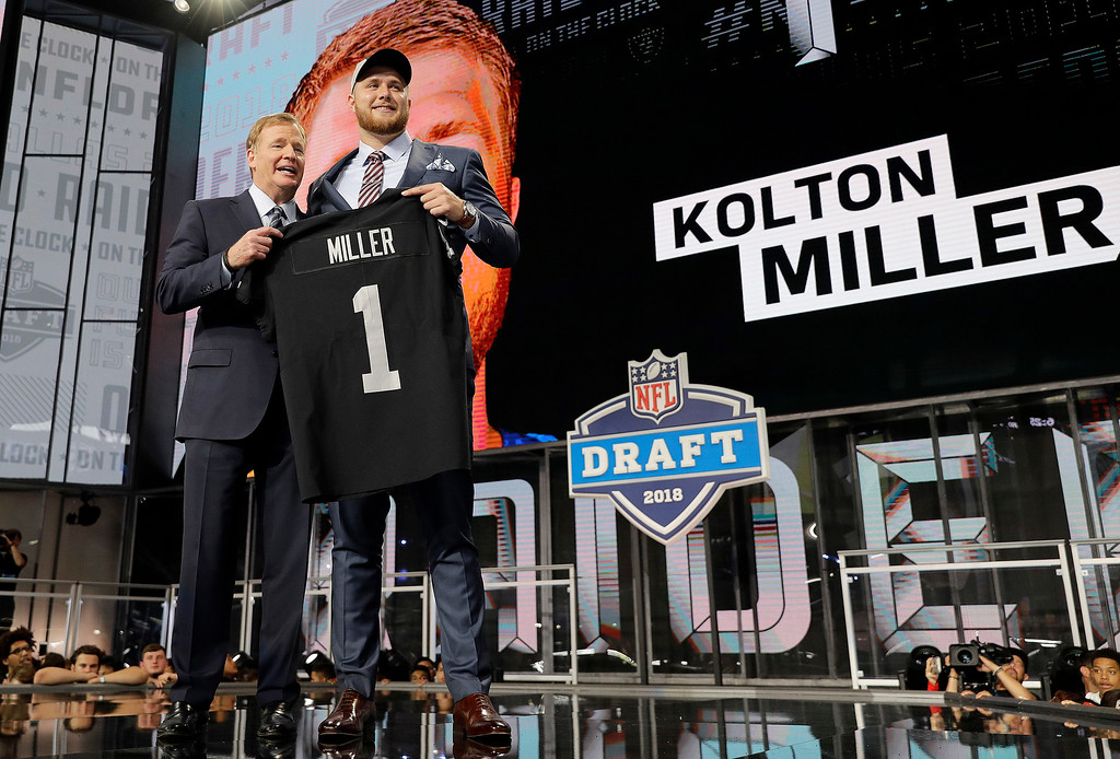 . Commissioner Roger Goodell, left, presents UCLA\'s Kolton Miller with his Oakland Raiders jersey during the first round of the NFL football draft, Thursday, April 26, 2018, in Arlington, Texas. (AP Photo/David J. Phillip)