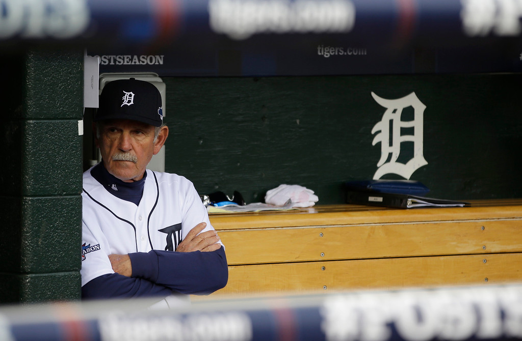 . Detroit Tigers manager Jim Leyland waits for the start of Game 3 of the American League baseball championship series against the Boston Red Sox Tuesday, Oct. 15, 2013, in Detroit. (AP Photo/Matt Slocum)