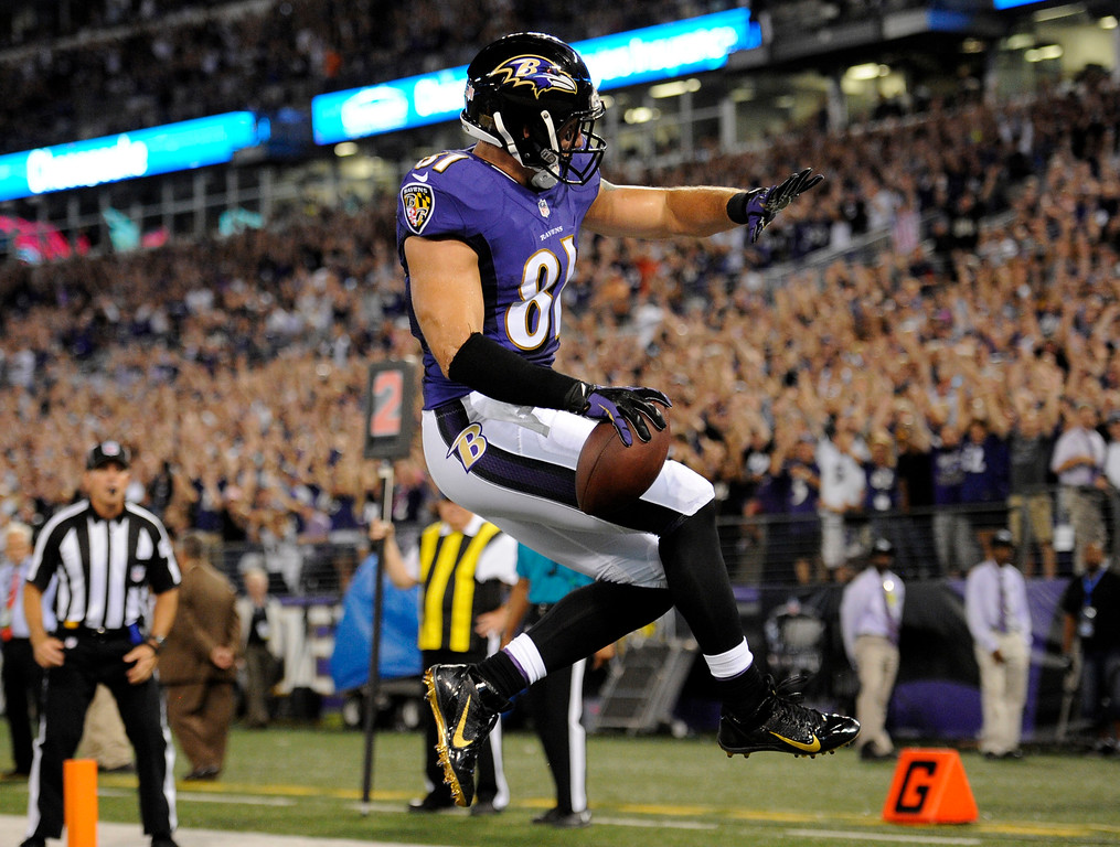 . Baltimore Ravens tight end Owen Daniels celebrates his touchdown reception during the first half of an NFL football game against the Pittsburgh Steelers on Thursday, Sept. 11, 2014, in Baltimore. (AP Photo/Nick Wass)