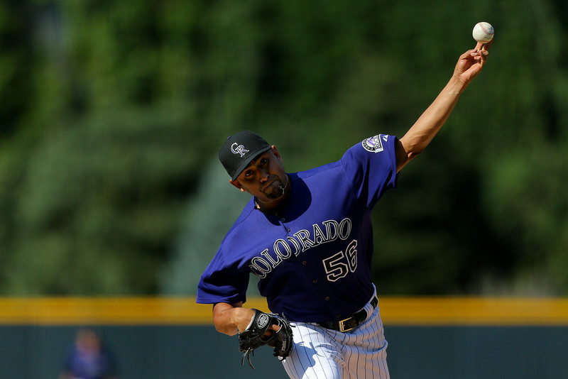 . Starting pitcher Franklin Morales #56 of the Colorado Rockies delivers to home plate during the first inning against the San Francisco Giants at Coors Field on September 1, 2014 in Denver, Colorado. (Photo by Justin Edmonds/Getty Images)