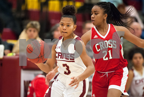 12/29/17 Wesley Bunnell | Staff New Britain basketball was defeated by visiting Wilbur Cross 56-28 on Friday evening at New Britain High School. Maya Slisz (3).