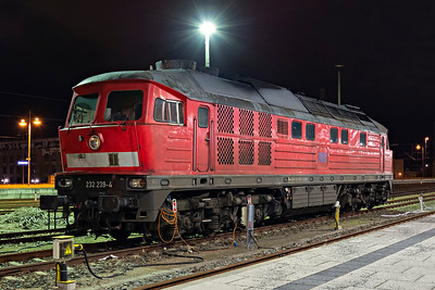 Evening Ludmilla Class 232 239_4 awaits next duty at Dresden HBf 2