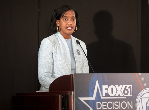 10/17/18 Wesley Bunnell | Staff CCSU along with Fox 61 hosted a 5th Congressional District Debate on Wednesday evening with Democratic candidate Jahana Hayes and Republican candidate Manny Santos who are both vying for the seat being vacated by Elizabeth Esty. Democratic candidate Jahana Hayes.